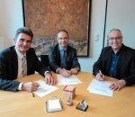 Eine wichtige Vereinbarung zum Wohle der Kinder unterzeichneten Michael Kenader, Wolfgang Tauber und Erwin Lehmann (von links).