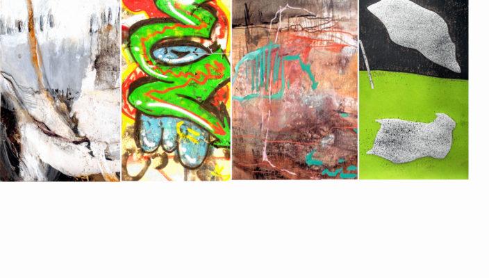 """Im """"Viererbild"""" sind Ausschnitte aus Werken der austellenden Künstler Hanni Harzenetter, Wolf Heyner, Marianne Igel und Karin Janischka wiedergegeben."""