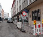 Der Weg in die Stollstraße führt derzeit aus Richtung Salzstadel. Für Anlieger ist die Zufahrt frei. Fotos: re