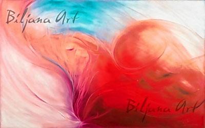Kräftige, leuchtende Farben und schwungvolle Linien – Erkennungszeichen der Künstlerin Brigitte Brunner.
