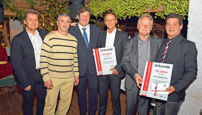 Strahlende Gesichter bei der Ehrung: Josef Eder, Karen Agasarjan, Peter Grubauer, Werner Karl, Georg Rohrmoser, Frank Diederichs (von links).