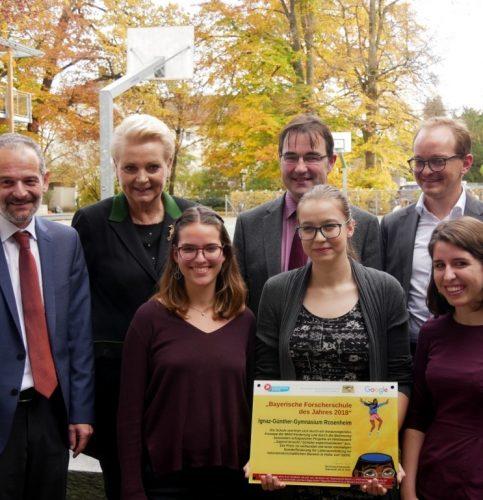 Bei der Verleihung des Sonderpreises, von links: Dieter Friedel, Oberbürgermeisterin Gabriele Bauer, Marie von Egloffstein, Dr. Thomas Grillenbeck, Anna Treffurth, Anton Kathrein und Theresa Ebner.