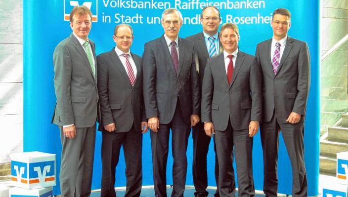 Hubert Kamml, Volksbank Raiffeisenbank Rosenheim-Chiemsee eG, Werner Strasser, Raiffeisenbank Tattenhausen-Großkarolinenfeld eG, Konrad Irtel, Volksbank Raiffeisenbank Rosenheim-Chiemsee eG, Ulrich Maier, Raiffeisenbank Griesstätt-Halfing eG,