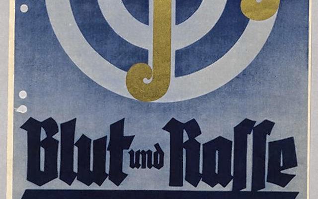 """Ausstellungsplakat """"Blut und Rasse"""" im Rosenheimer Rathaus, ebenfalls im Jahr 1936."""
