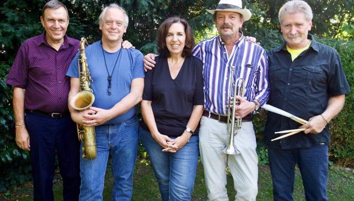 """on links: Klaus """"Calus"""" Förg, Bernd Schmid, Susi Weiss, Richard Prechtl und Siegfried Hofmann."""