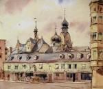 Karl Prokop, Ludwigsplatz, Aquarell 1946.