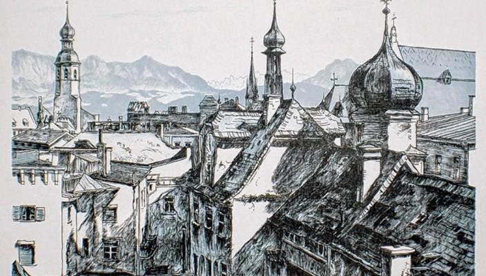 """Karl Prokop, """"Blick über die Dächer"""", Lithografie, um 1950."""