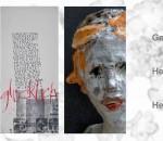 Kunst drei Mal verschieden (von links): Seidenmalerei von Gerda Heger, Kalligraphie von Heike Weber und Skulptur von Helga Zellner. Foto: re