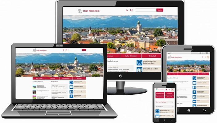 Noch übersichtlicher präsentiert sich die neugestaltete Homepage der Stadtverwaltung Rosenheim.