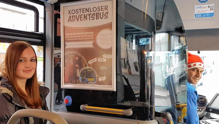 """""""Starke Partner - gemeinsam für Rosenheim"""" wünscht allen Fahrgästen einen entspannten Weihnachtseinkauf in Rosenheim und gute Fahrt! Foto: Stadtverkehr Rosenheim"""
