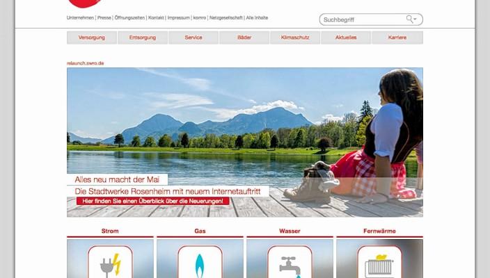 Blick auf die neue, übersichtliche Internet-Seite der Stadtwerke Rosenheim.