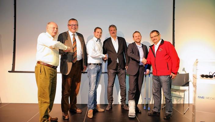 Alte und neue Vorstände vereint: Jost Fischer, Wilhelm Graue, Marcus Thaller, Richard Diebald, Peter Dürr und Karl Aicher (von links nach rechts).