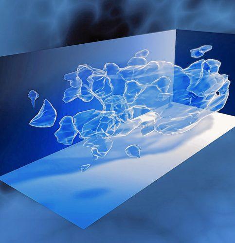 Dreidimensionale Karte einer Verteilung Dunkler Materie anhand von Messergebnissen mittels Gravitationslinseneffekts des Hubble-Weltraumteleskops.