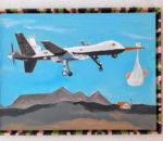 """""""MQ-9 Reaper - deutsch: Sensenmann"""", eines der Bilder von Hanns Thäle, die in der Kleinen Werkraumgalerie gezeigt werden. Repro: Heuser"""