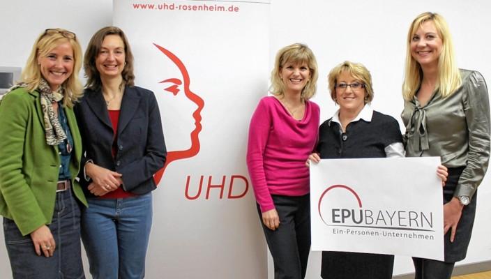 Britta Bolzern-Konrad und Gertraud Köppl (UHD), MdB Daniela Ludwig, UHD-Vorsitzende Angelika Artmann, Sabine Wiesflecker, EPU-Beauftragte von Tirol (von links).